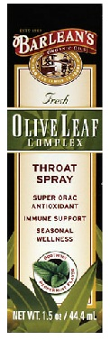 Barleans Olive Leaf Throat Spray Peppermint 1.5oz